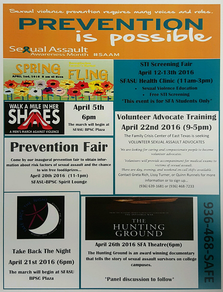 Free events in lufkin for sexual assault awareness month for T shirt printing in lufkin tx