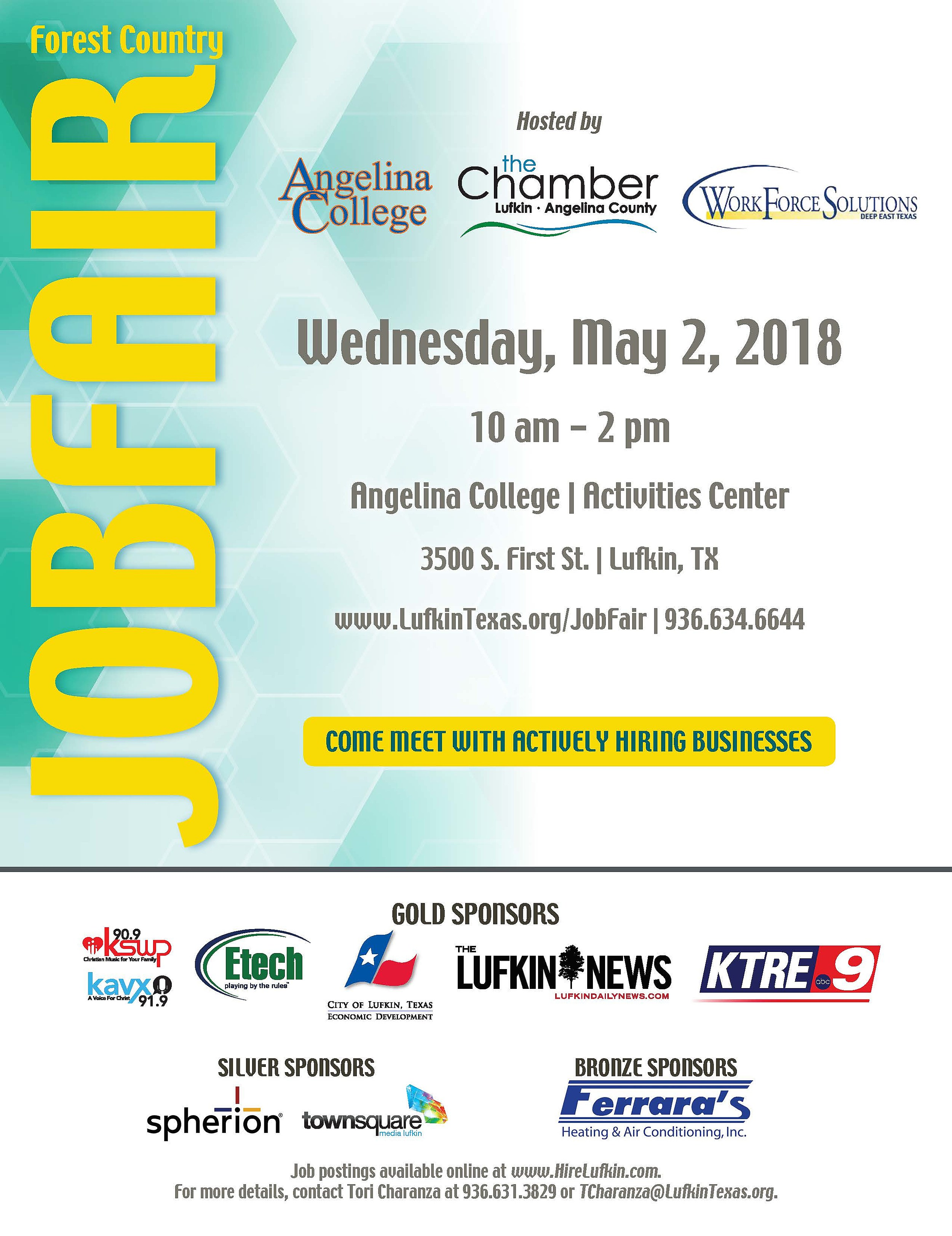 Itu0027s Wednesday May 2nd, From 10 Am 2 Pm Inside The Angelia College  Activities Center. Job Postings Are Available Online At Hirelufkin.com